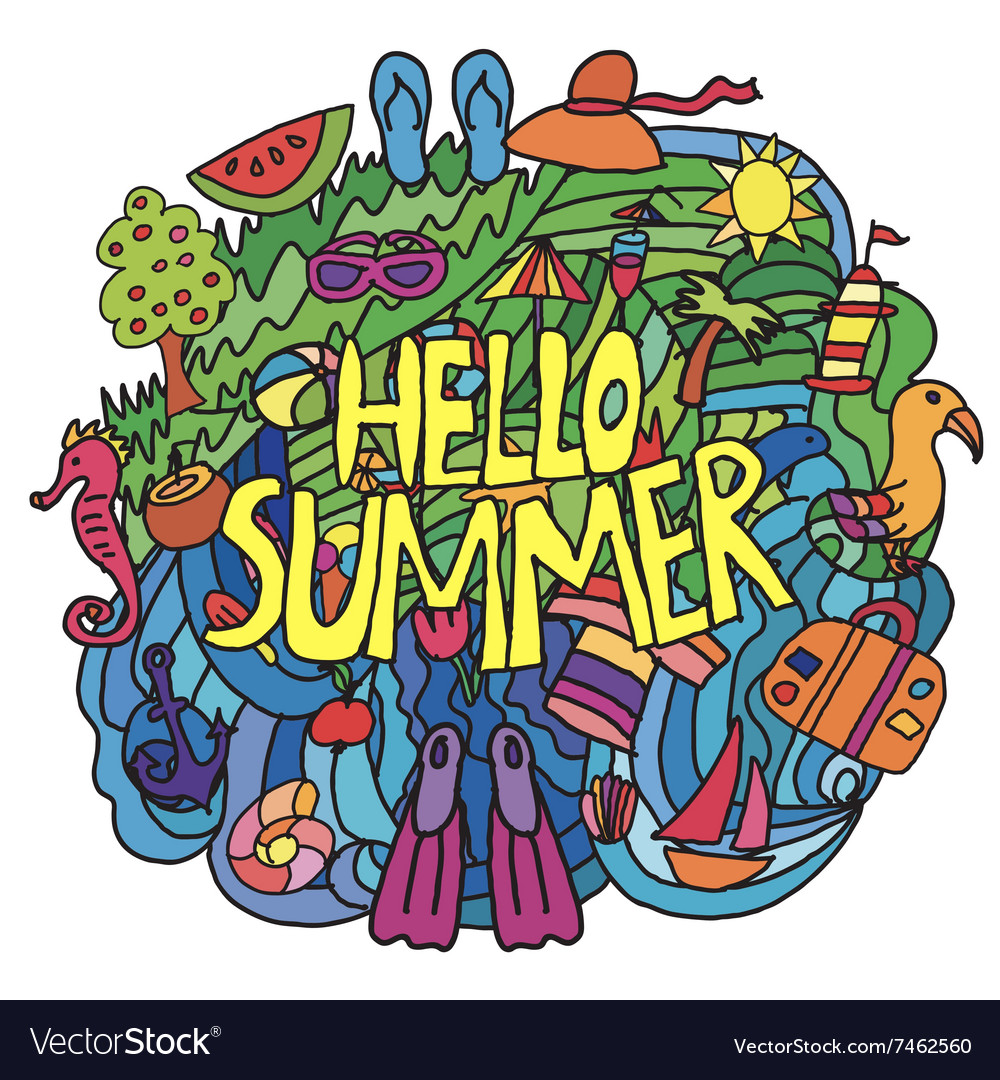 Summer items in cartoon style with hello summer