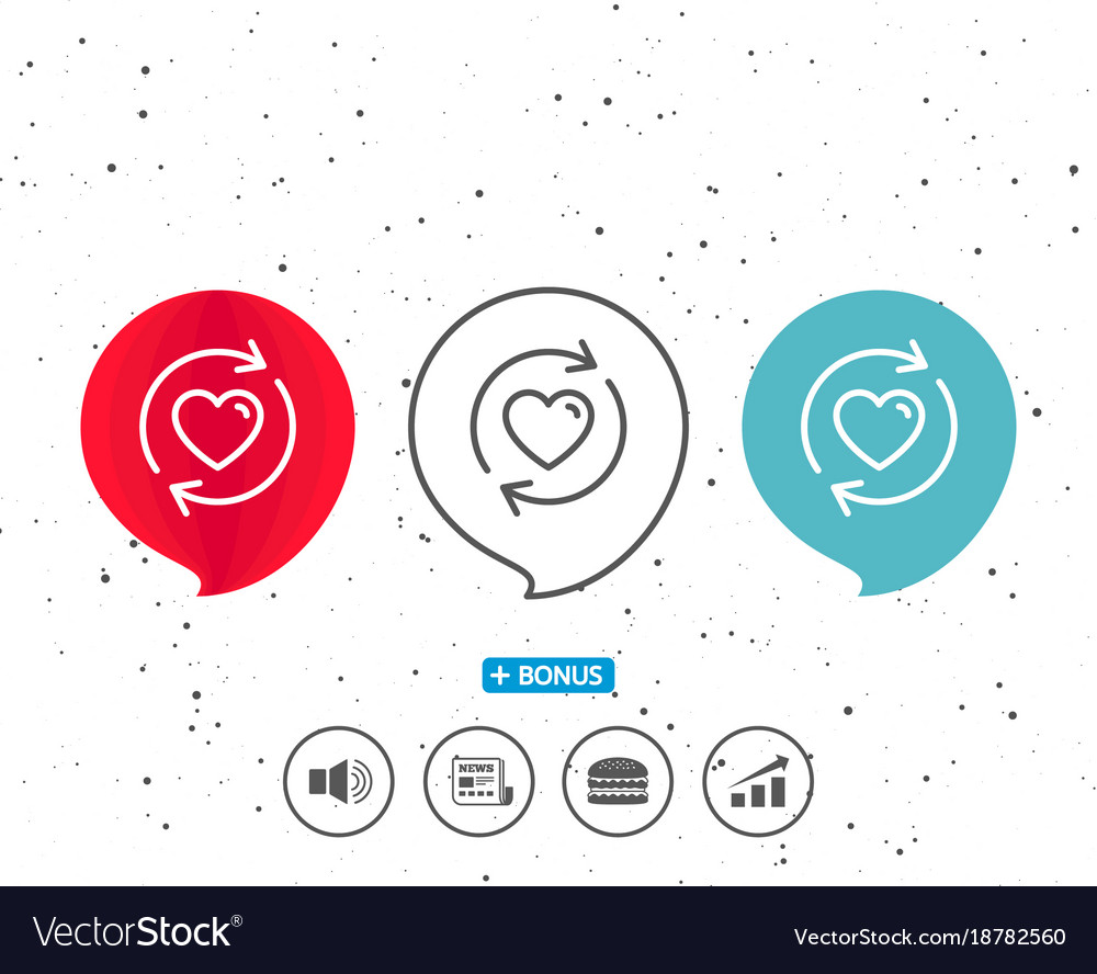 Update relationships line icon love symbol vector image