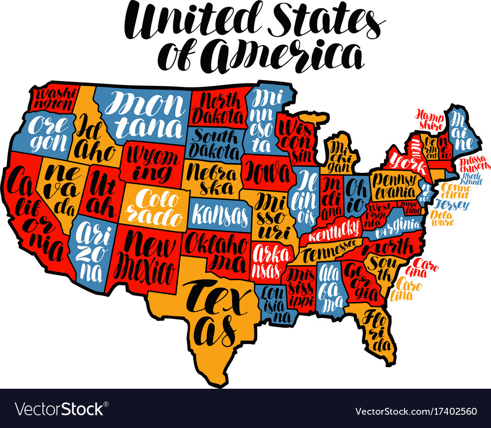 Usa map country united states of america