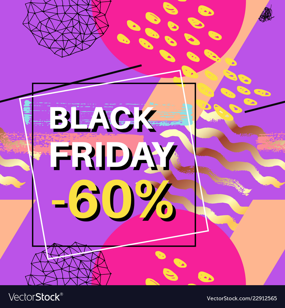 Black friday sale banner for online shopping with