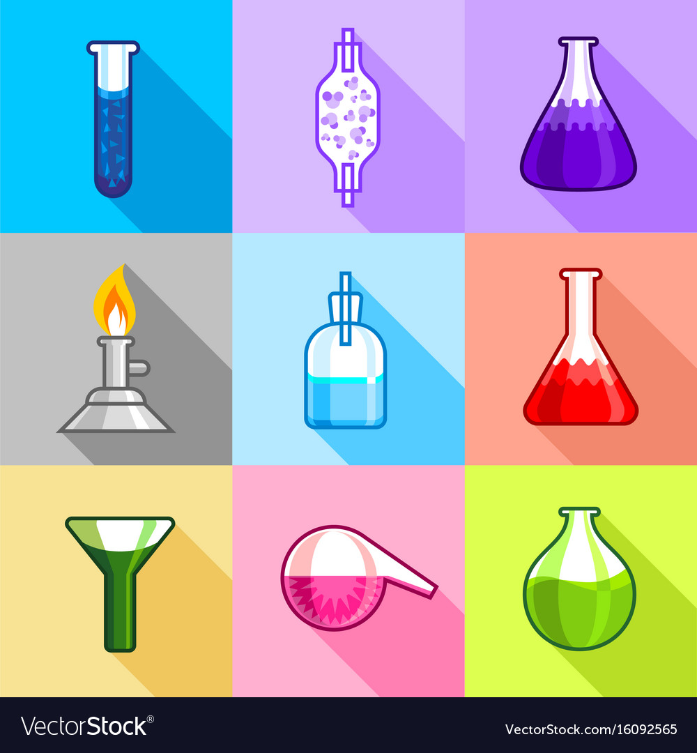 Chemical equipment icons set flat style