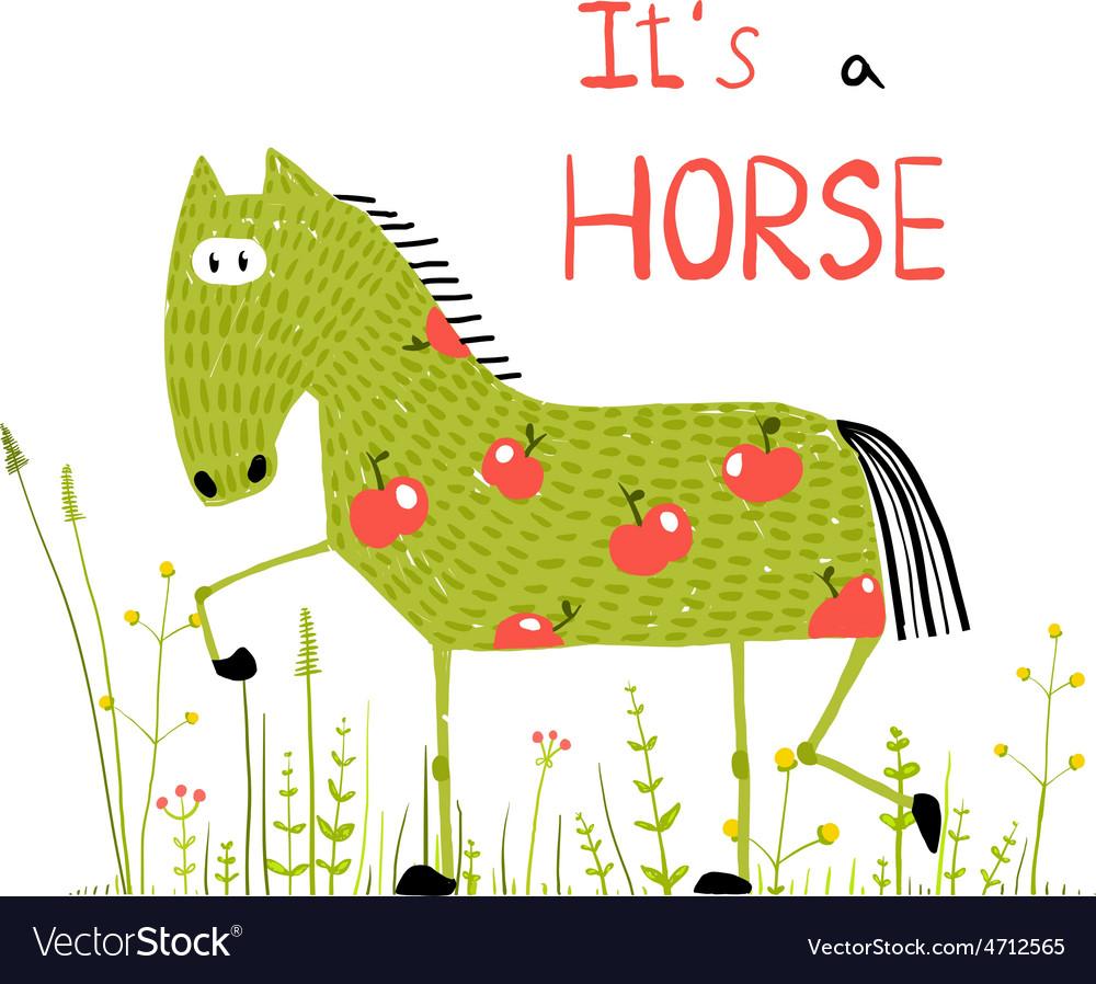 Childish Colorful Fun Cartoon Horse in Grass Field