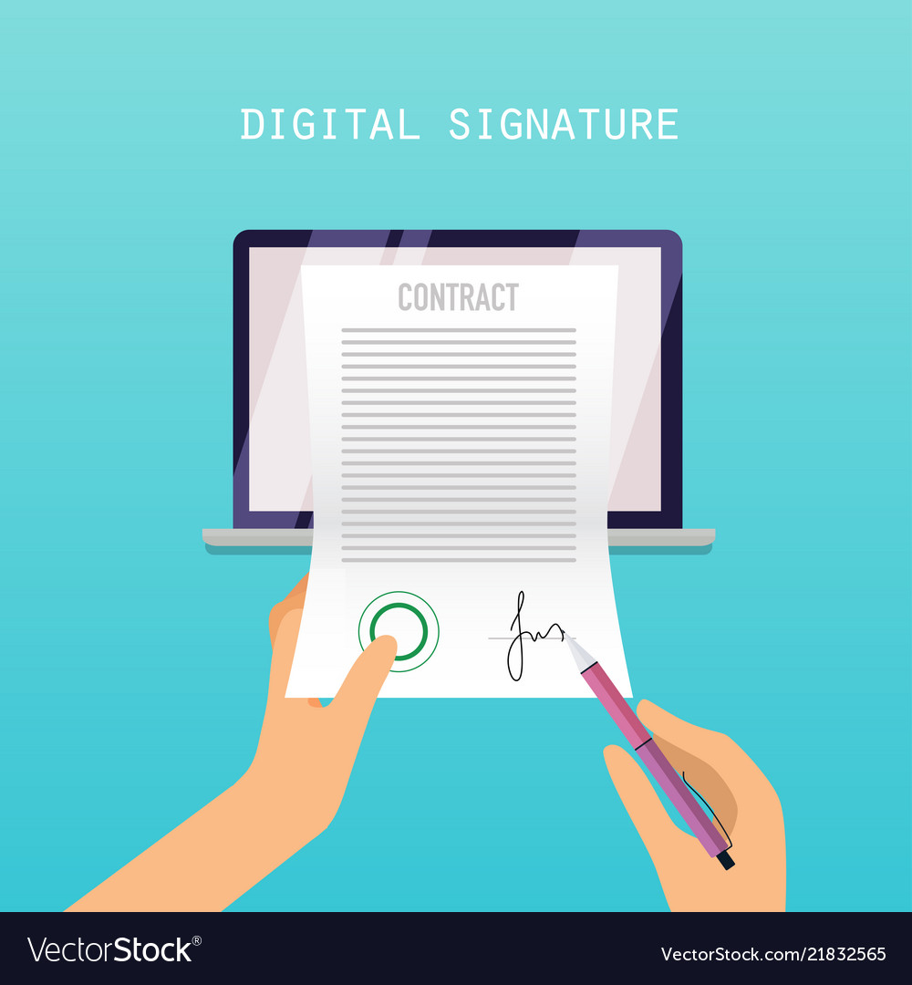 Digital signature concept online contract on