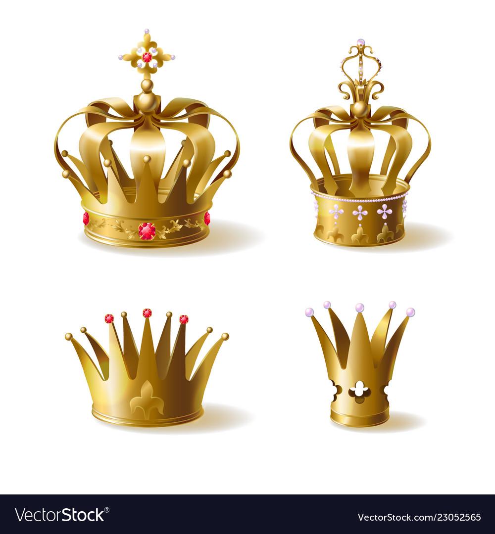 Golden royal crowns 3d realistic set
