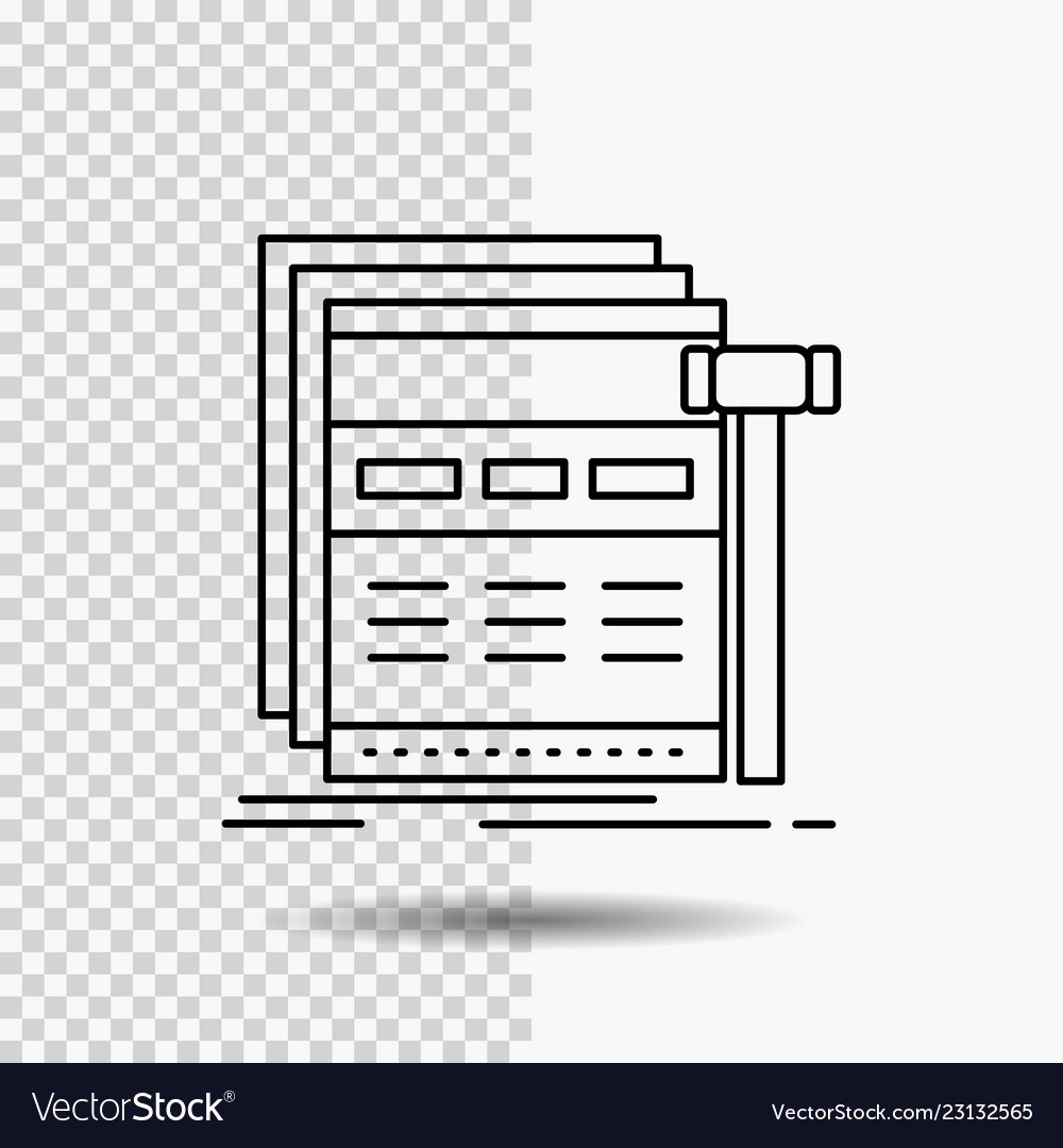 Internet page web webpage wireframe line icon on