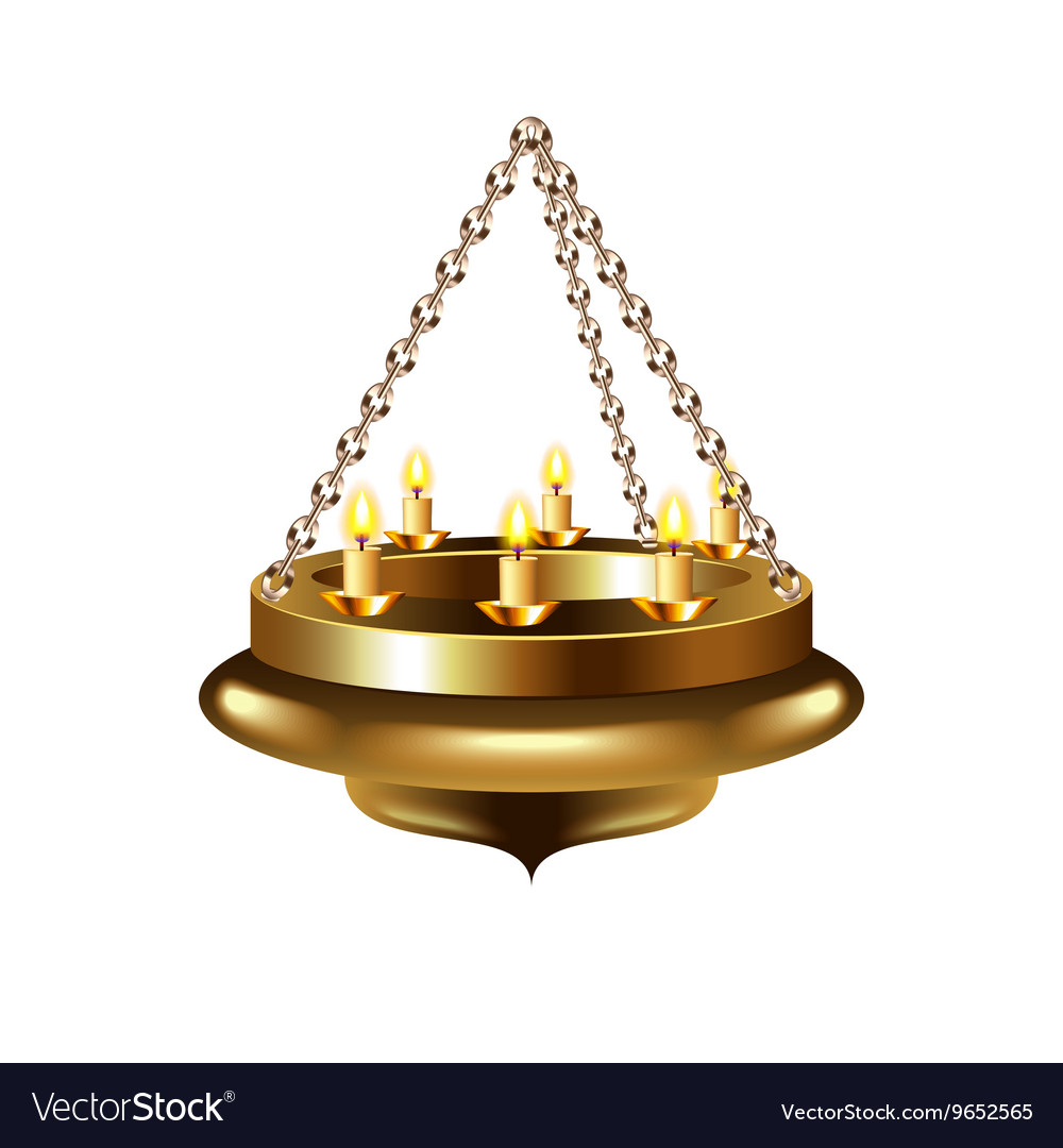 Medieval chandelier on chain isolated vector image