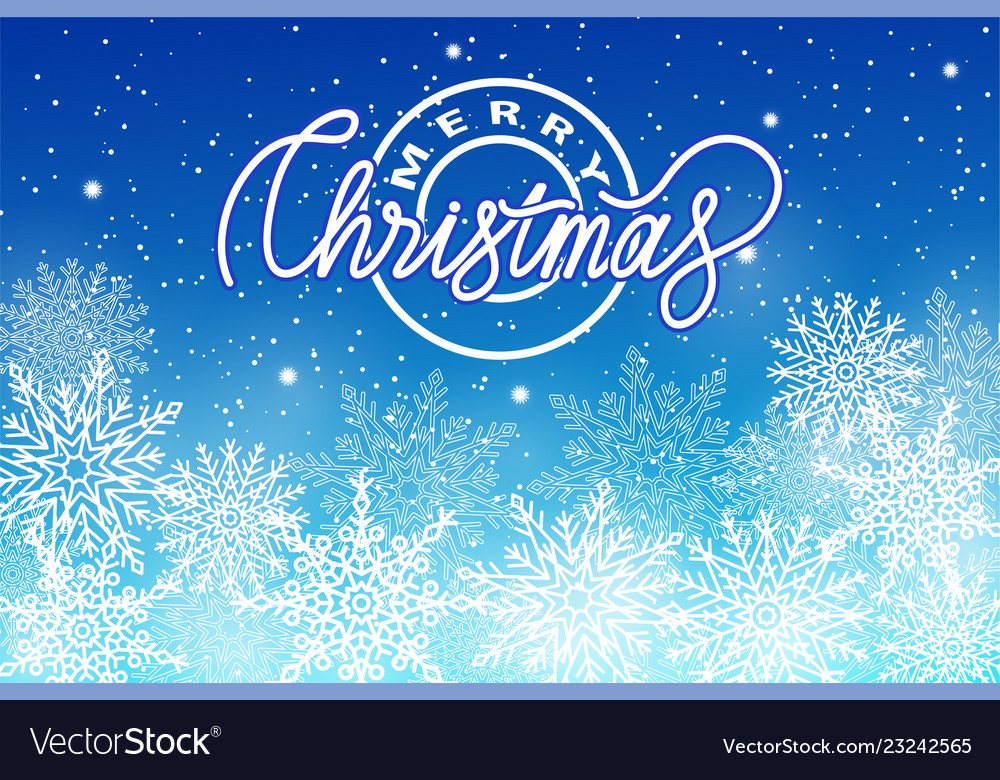 Merry christmas postcard with snowflakes isolated