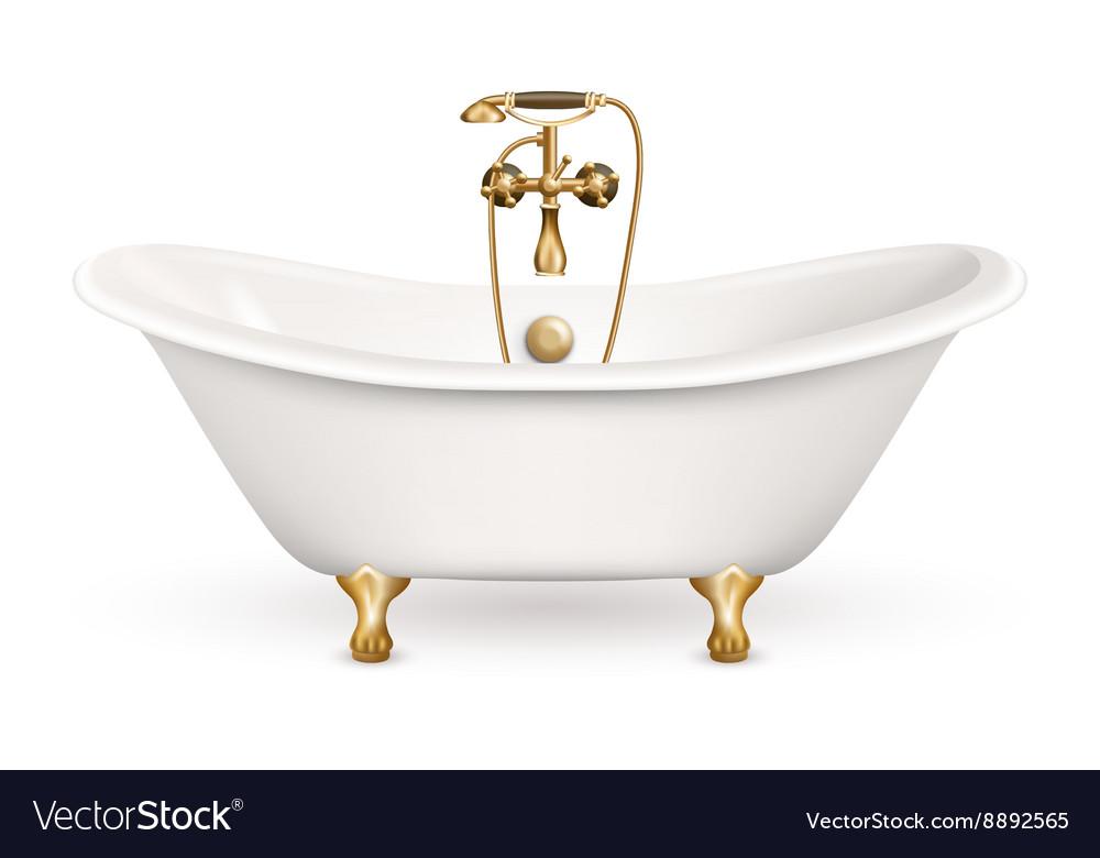 Realistic Retro Bathtub Icon