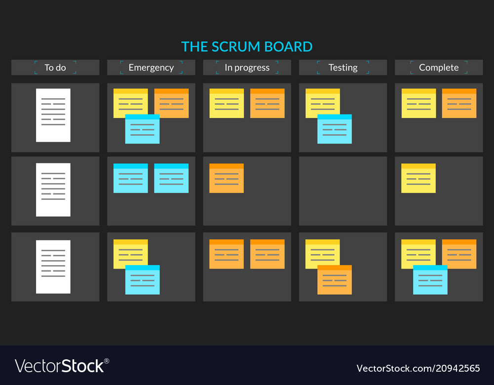 scrum task board with sticky notes for royalty free vector. Black Bedroom Furniture Sets. Home Design Ideas