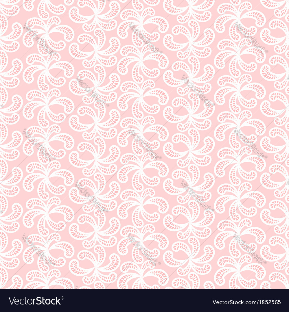 Seamless pink and white lacy pattern vector image