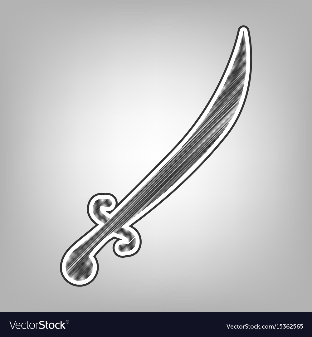 Sword sign pencil sketch vector image