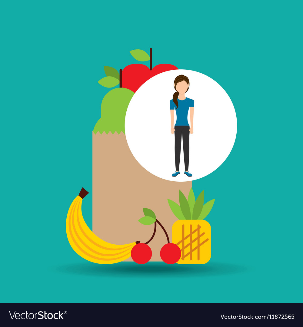 Woman exercising healthy food bag vector image