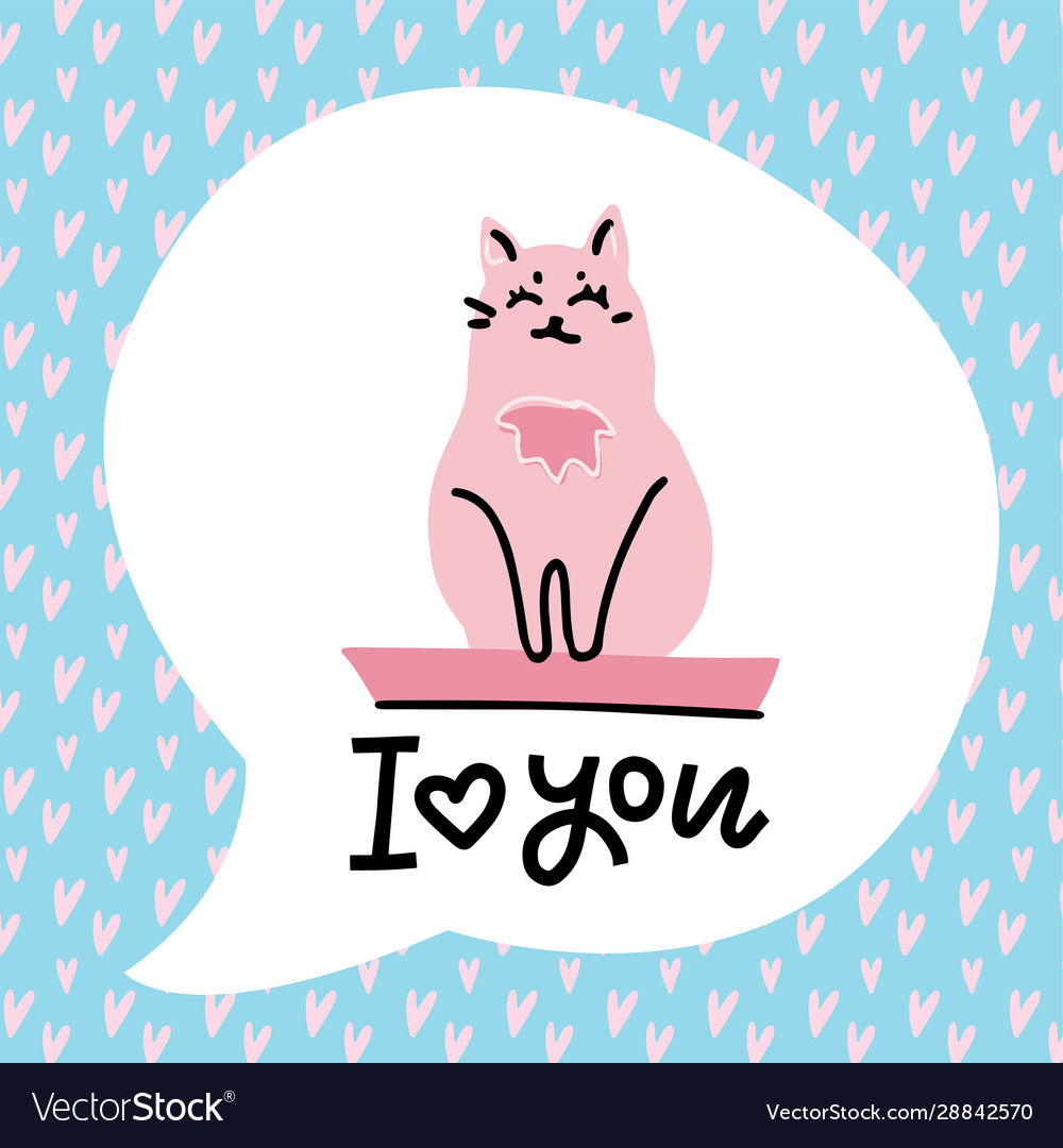 Animal greeting card with pink cat lettering - i