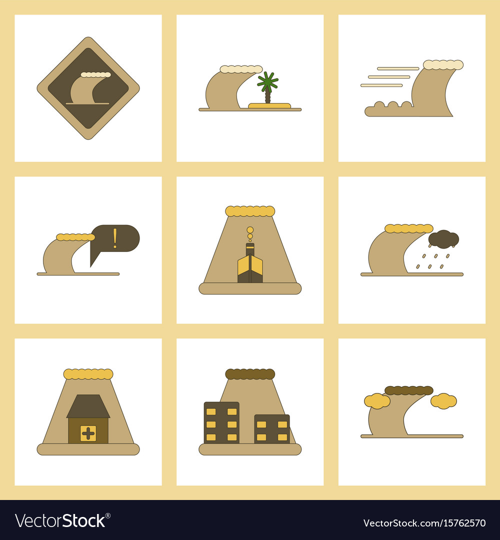 Assembly flat icons nature disaster tsunami