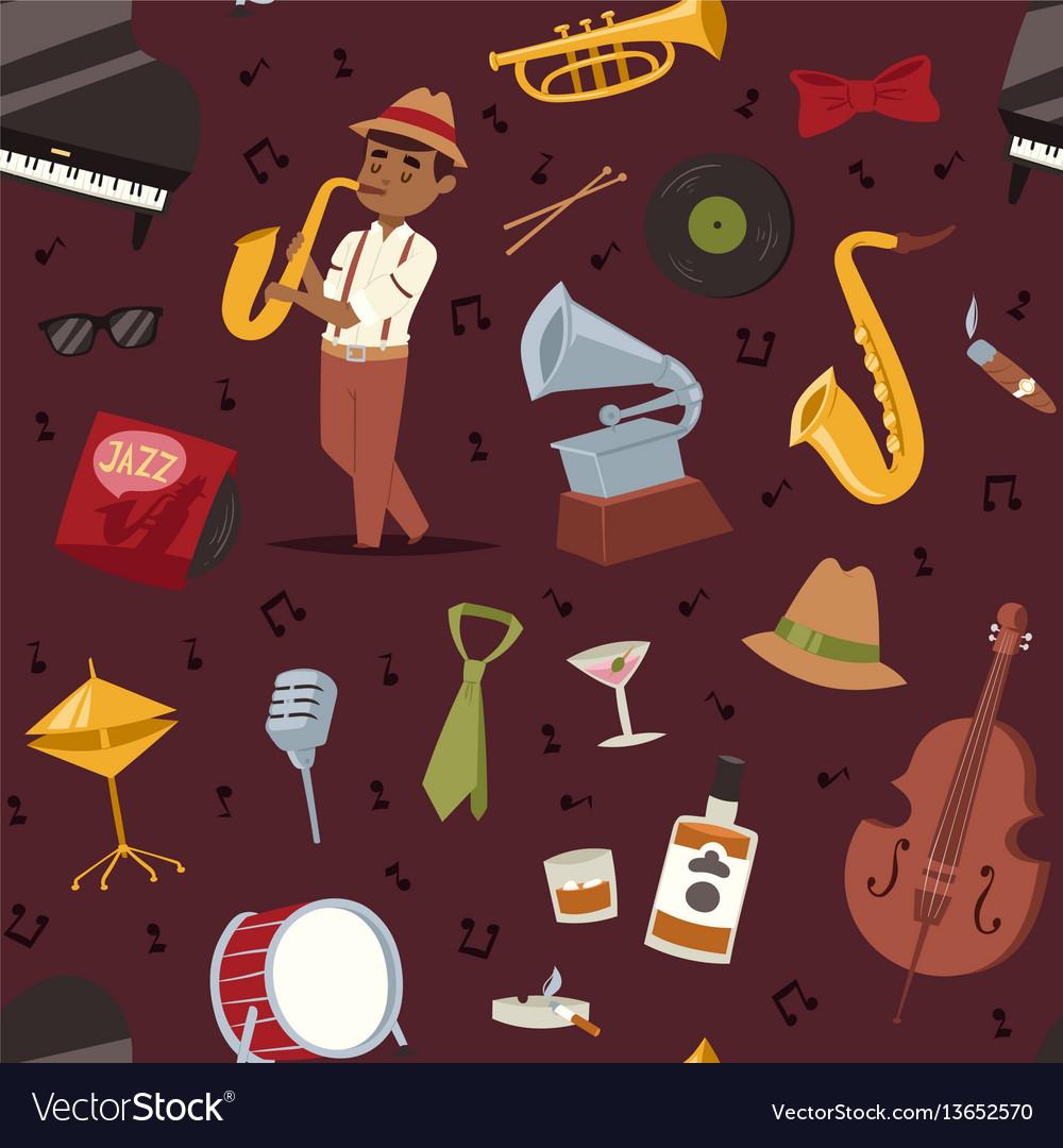Fashion jazz band music party symbols art