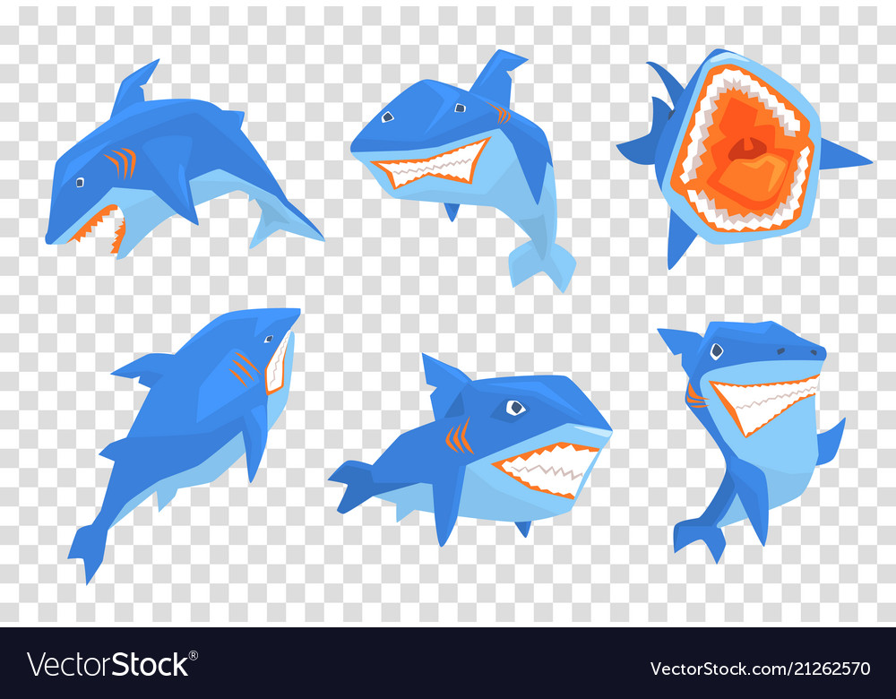 Flat set of big blue shark marine fish