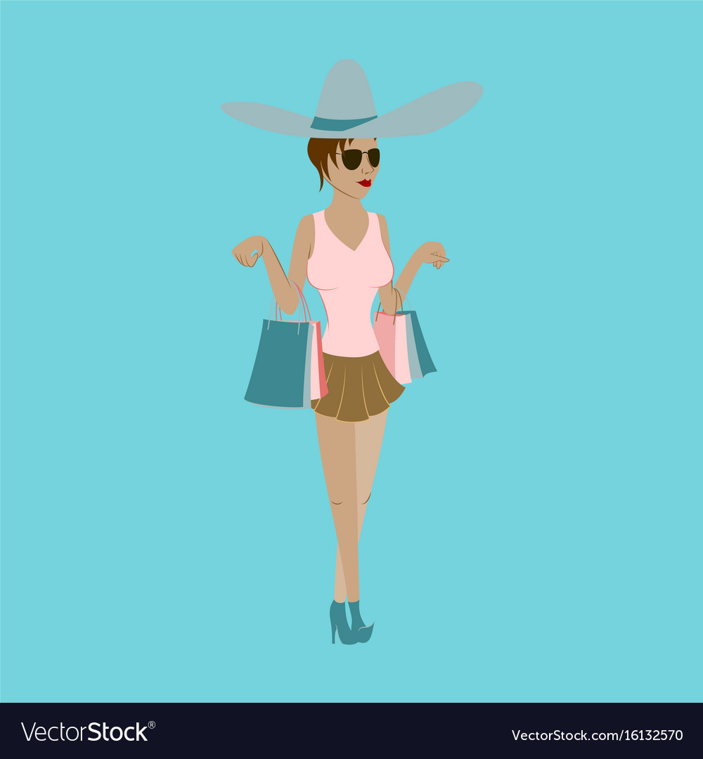 Girl shopping with packages vector image