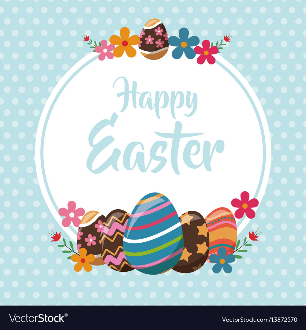 Happy easter eggs decoration poster