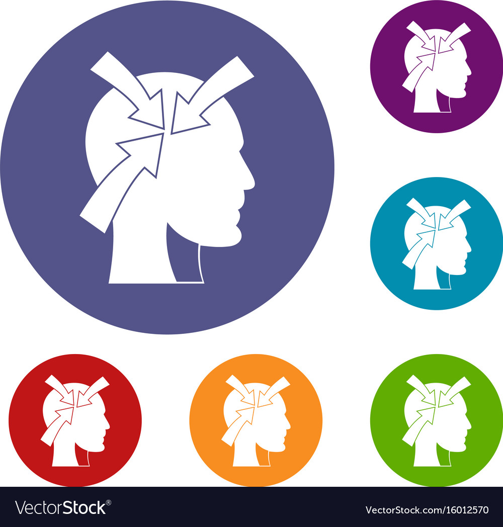 Head with arrows icons set
