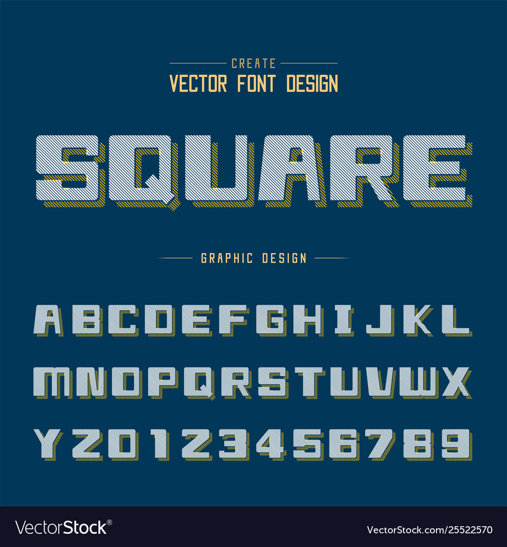 Line bold font shadow and graphic alphabet