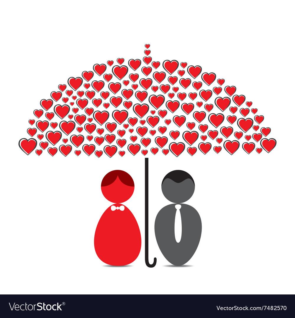 0a2a9dbe7 Love couple under heart shape umbrella design Vector Image