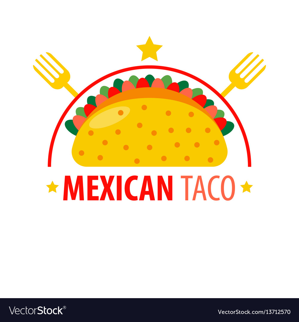 Mexican dish taco logo sign isolated on white