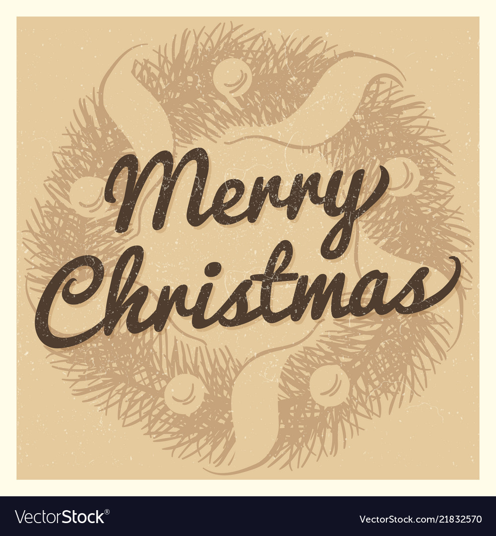 Vintage christmas card template with hand drawn