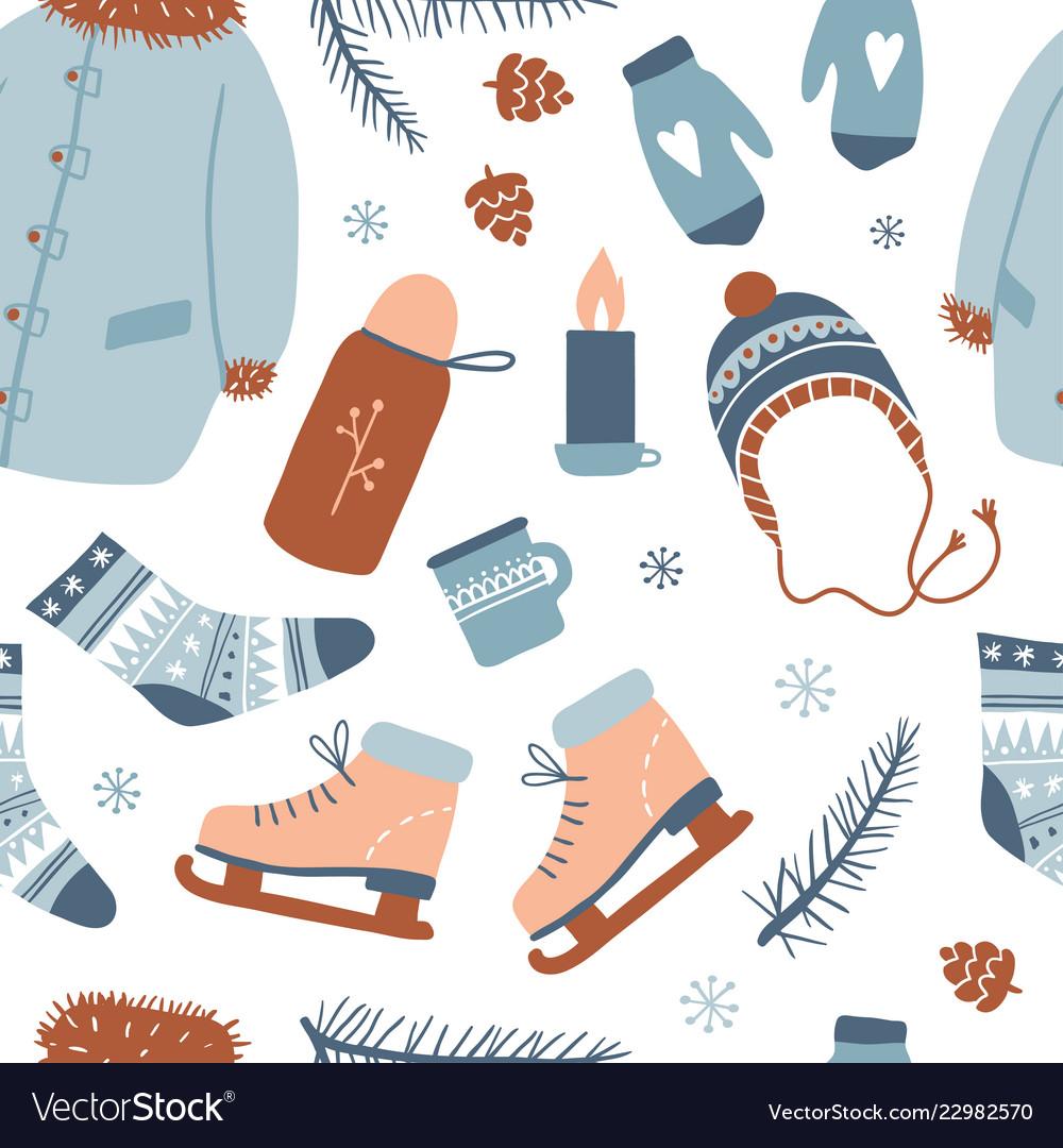 Winter activities seamless pattern