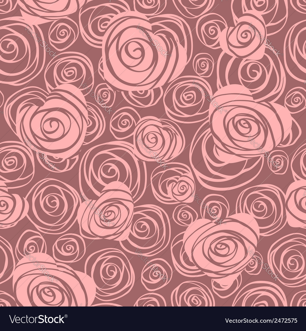 Abstract seamless pattern with hearts and roses
