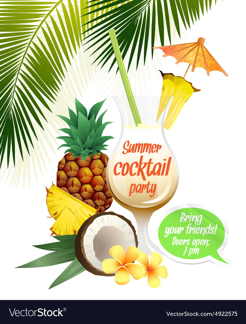 Beach tropical cocktail pina colada with garnish