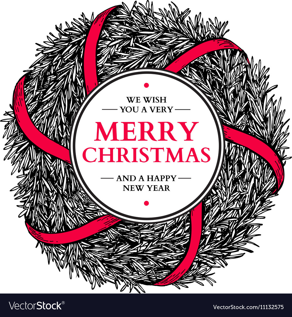 Christmas wreath hand drawn