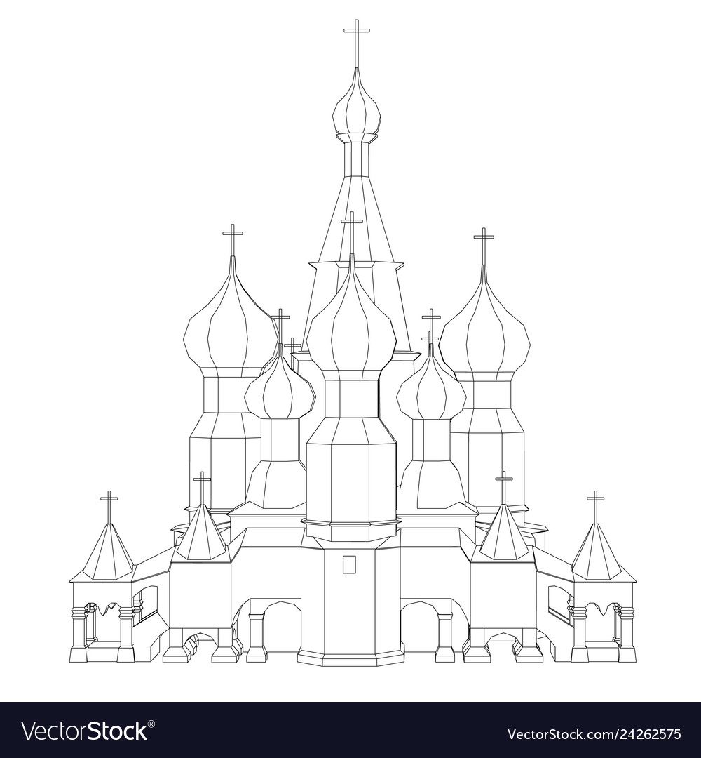 Contour of the church with domes front view