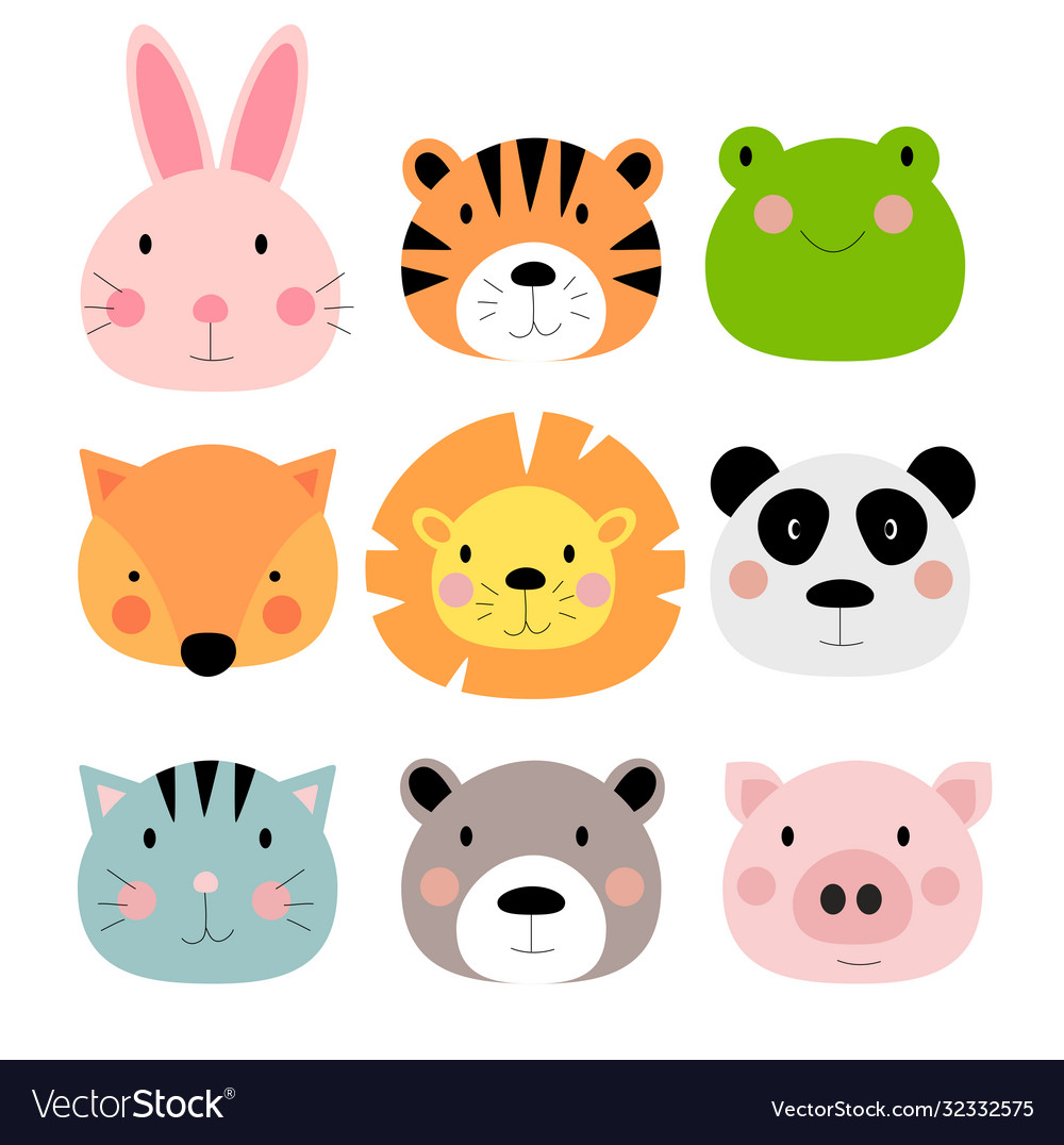 Cute hand drawn animals characters collection set