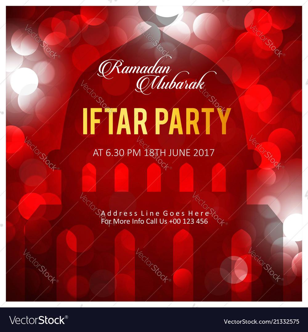 Elegant iftar party invitation card design Vector Image