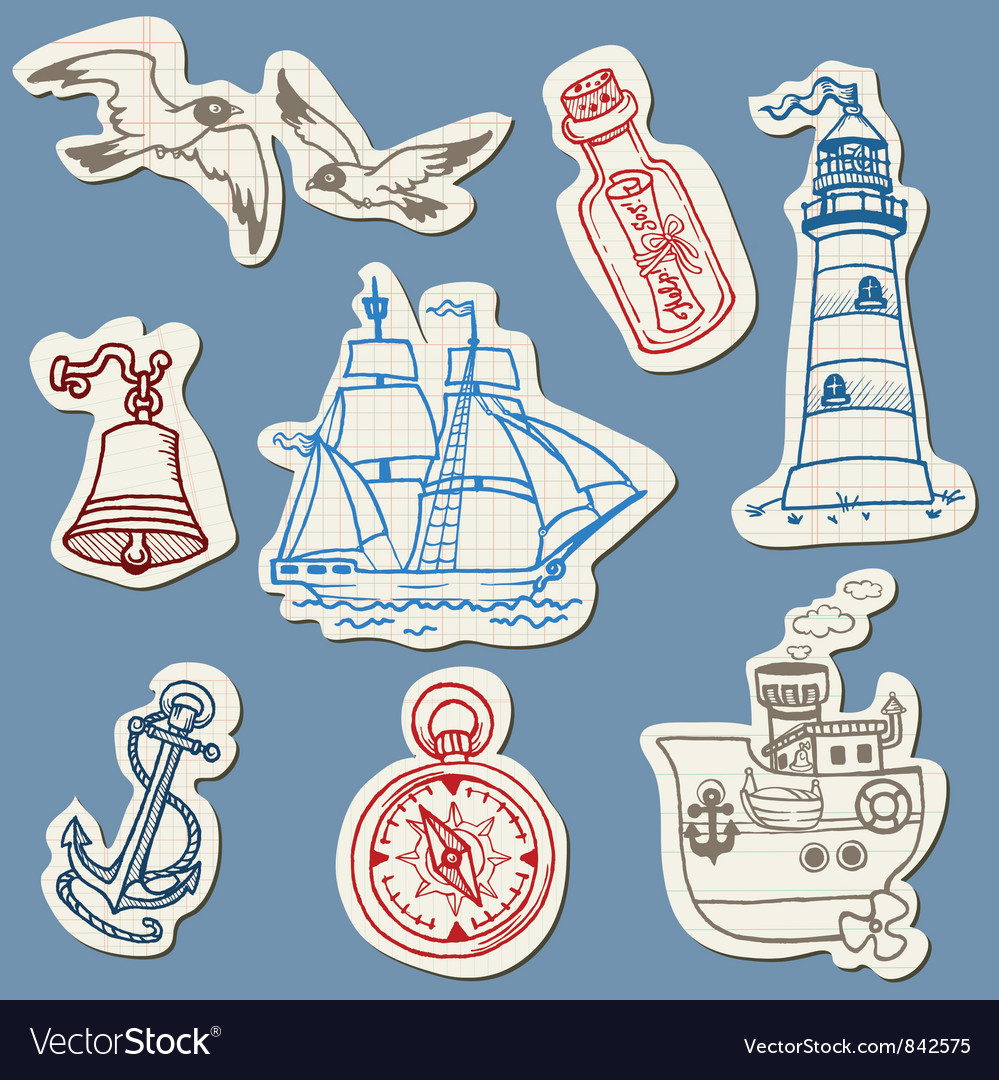 Nautical doodles on Torn Paper