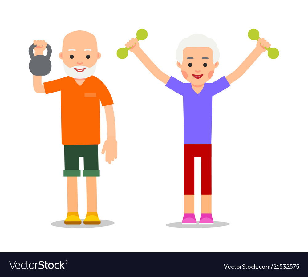 Old people doing exercises with dumbells and