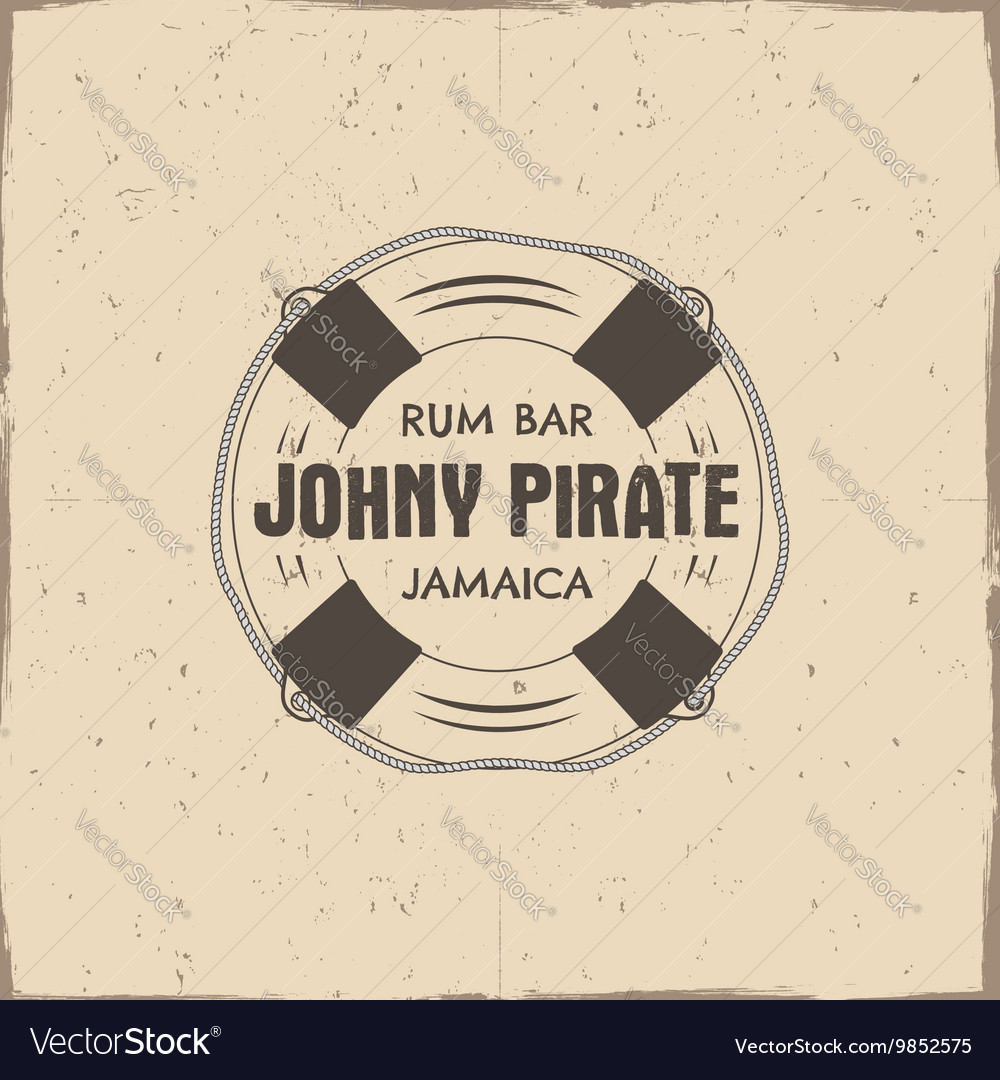 Vintage handcrafted rum bar label emblem