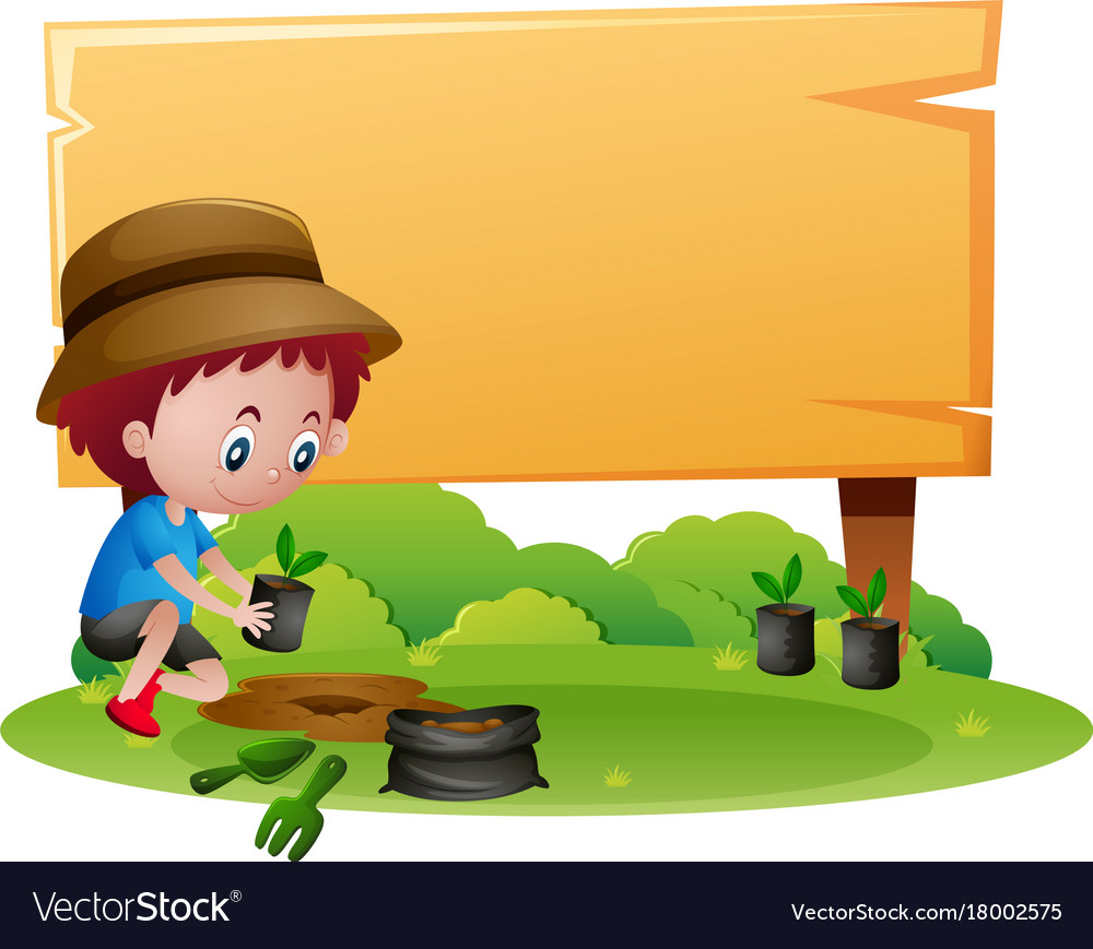 wooden sign template with boy planting tree vector image