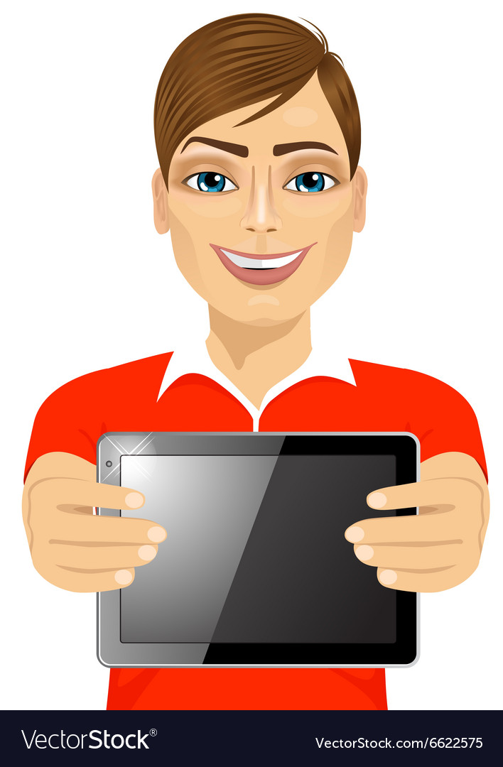 Young teenager boy displaying tablet vector image