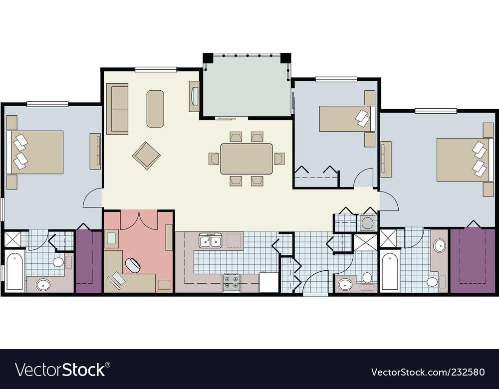 3 bed furnished floor plan vector image