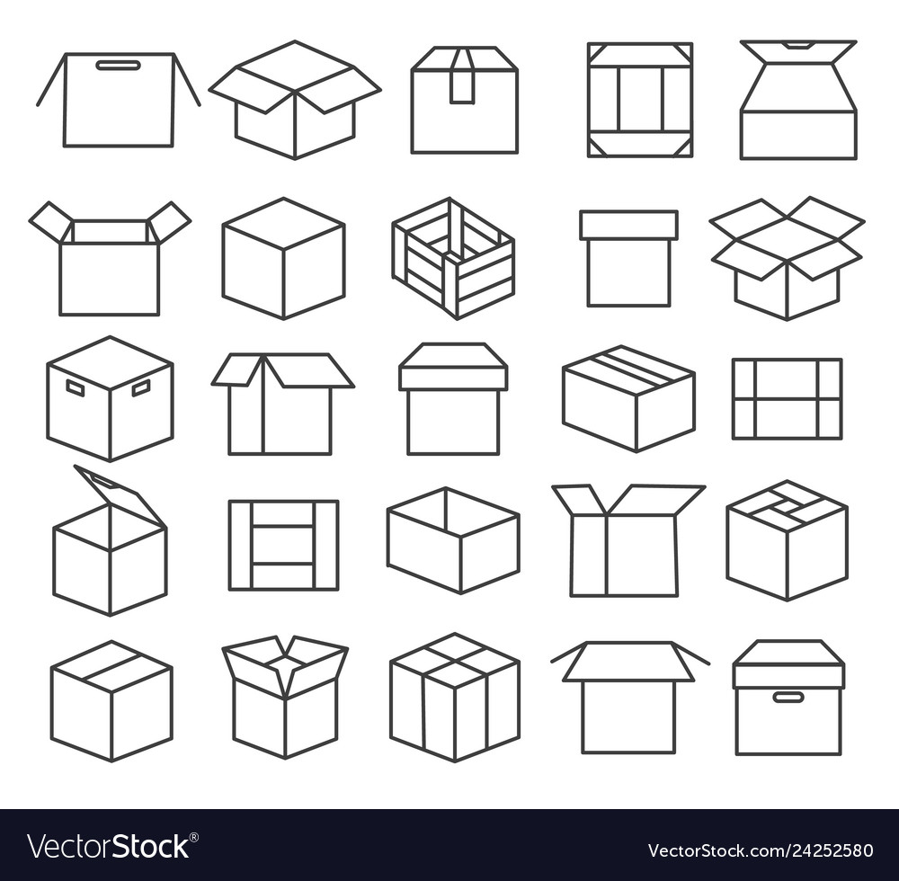 Box packaging line icons
