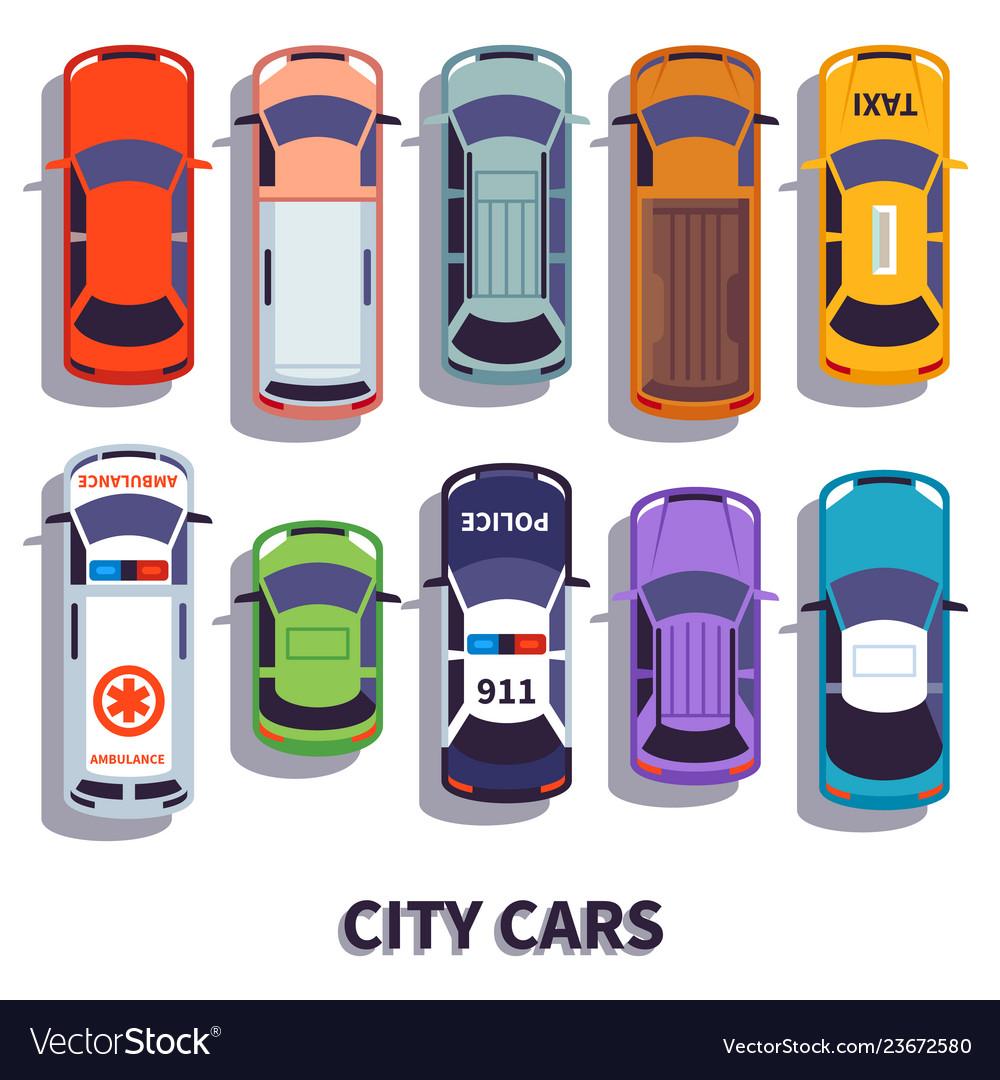 Car top view city vehicle transport automobile