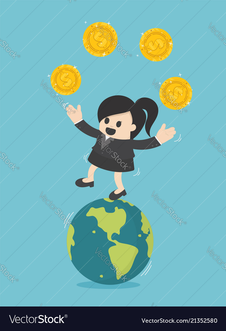Concept business businesswoman transfer of coins