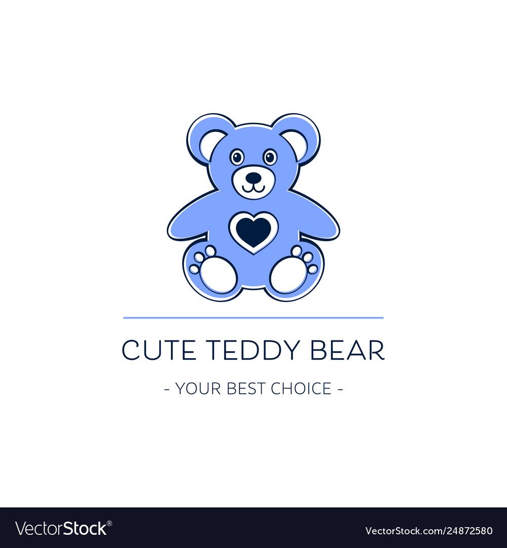 Cute teddy bear logo template design