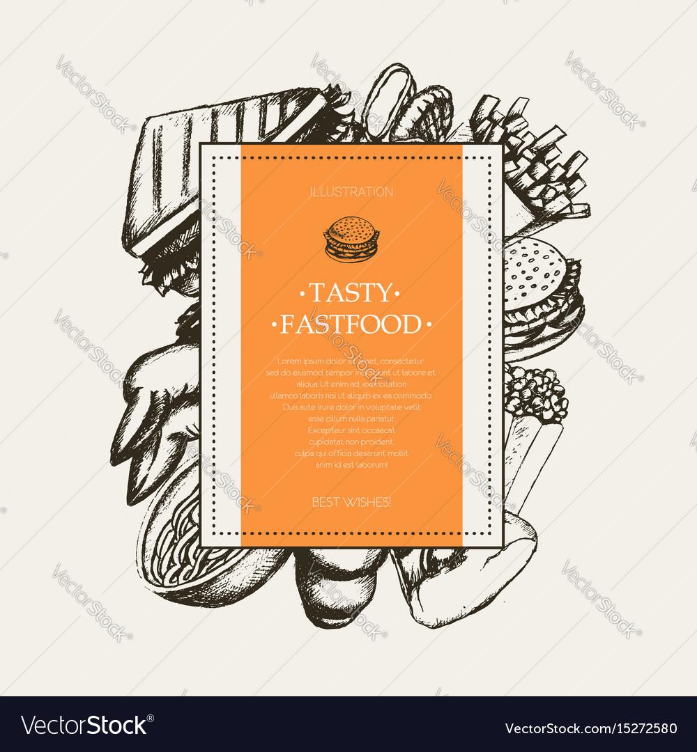 Fast food - modern hand drawn square postcard