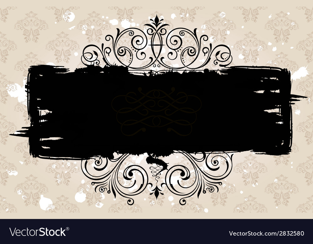 Grunge black banner with old background Vintage