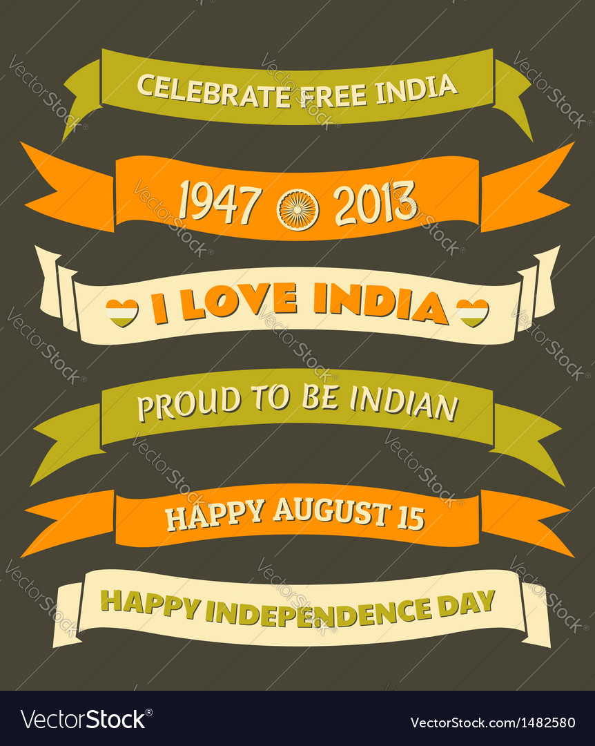 India Independence Day Celebration Banners Set