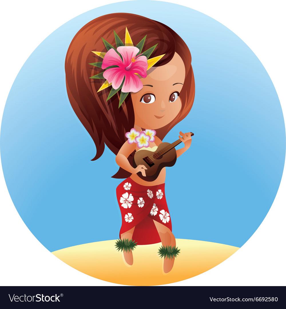 Luau Ukulele Hawaiian cartoon girl vector image