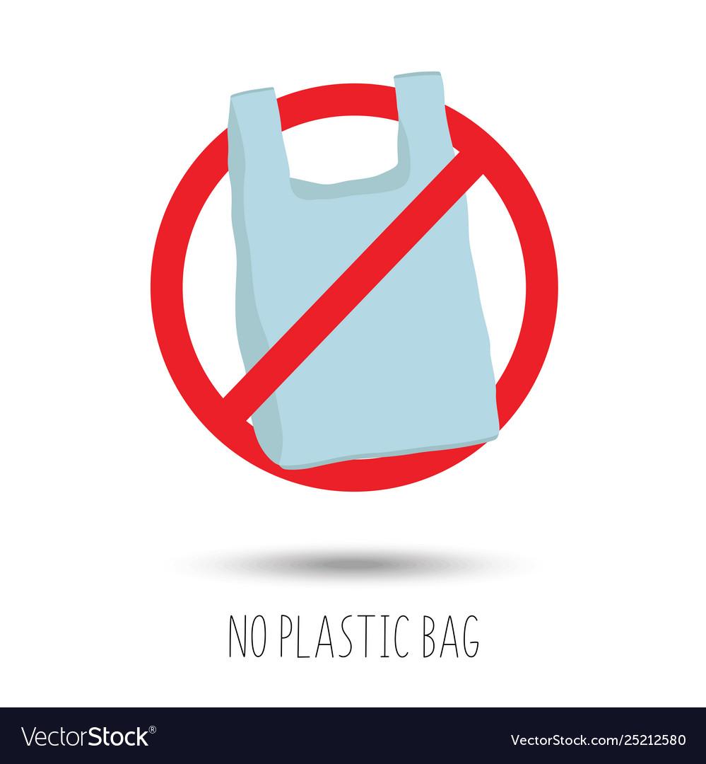 No plastic bag forbidden sign