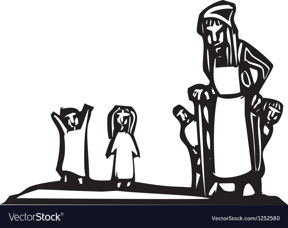 Old Woman and Kids vector image